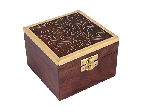 Mothers Day Gift Beautiful Hand Carved Wooden Trinket Keepsake Box, with Floral Patterns & Brass Latch