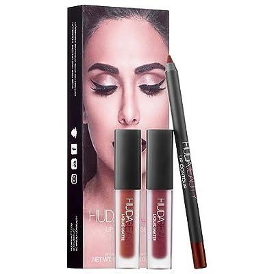 Huda Beauty Lip Contour Set + 2 Mini Liquid Mattes ~ Vixen & Famous