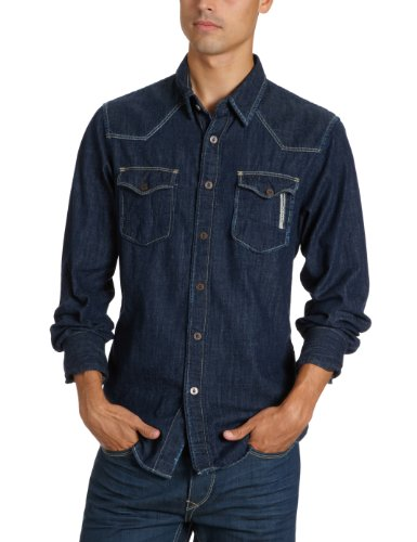 Meltin Pot Men's Chariton D1524-Ut380 Casual Shirt Blue (Dmbl) 40/41