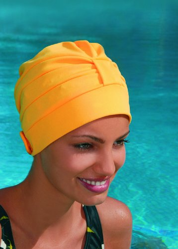 Ladies Turban Swimming Hat Bathing Cap Fashy With Adjustable Fastener White, Black, Brown, Yellow, Cream, Red, Royal Blue, Turquoise, Navy Blue