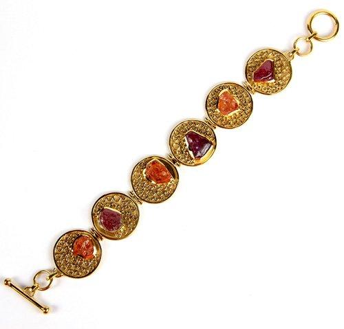 Sterling Silver Bracelet Studded with Madagascar Sapphire, Mandarin Garnet Rough.