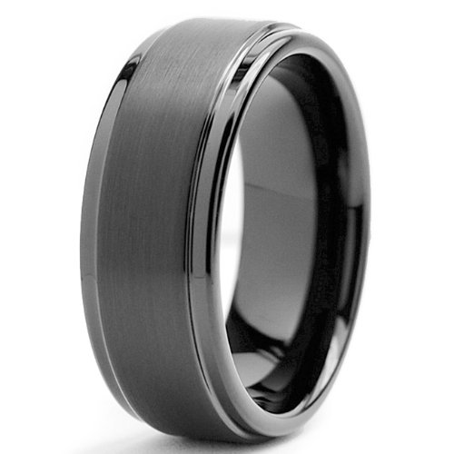 Black High Polish / Matte Finish Men's Tungsten Ring Wedding Band