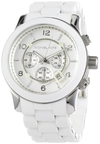 Michael Kors Mk8108 Unisex Sport Chronograph White Dial Stainless Steel Bracelet White Pu Wrap Links