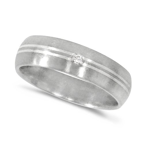 Gent's Stunning Titanium Court Shaped Satin Finish Ring With Silver Stripes a...