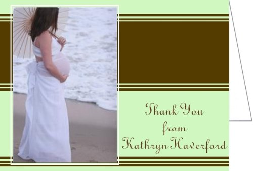 Chocolate And Mint Stripes Baby Shower Thank You Cards - Set Of 20 front-1033409