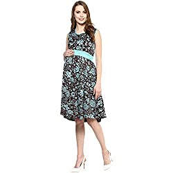 Mamacouture Maternity Blue Printed Short Dress For Women