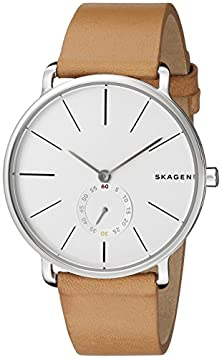 buy Skagen Men'S Skw6215 Hagen Stainless Steel Watch With Leather Band