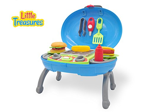 BBQ Play Set for Children 3+ Packed in a carry case, includes tongs, cooking spoon, grill, mock food & stove-knobs w/ standing legs for easy outing