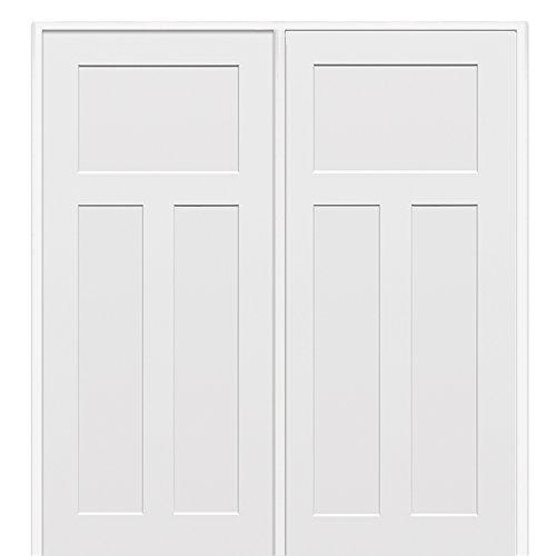 National Door Company Z009488l Solid Core Molded Craftsman 3 Panel Left Hand Prehung Interior
