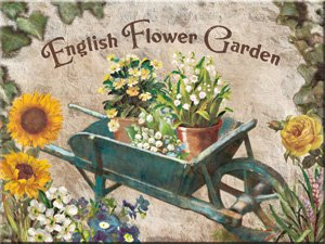 "Kühlschrank Magnet 6x8 cm ""English Flower Garden Blumen"" Nostalgie Tin Sign EMAG33"