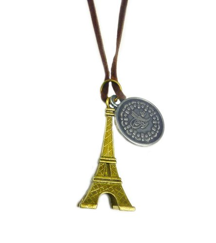 Tdz Vintage Traveler Mixed Paris Eiffel Tower Cord Necklace
