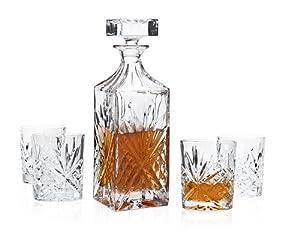 Dublin Whiskey Bar Set Decanter 4 DOF Glass by Godinger