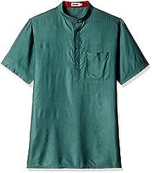 Fabindia Men's Mid-Thigh Silk Kurta  (10424341_44_Green)