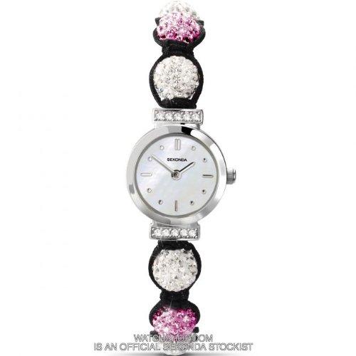 Sekonda Crystalla Pink & White Crystal Bead Ladies Watch 4731