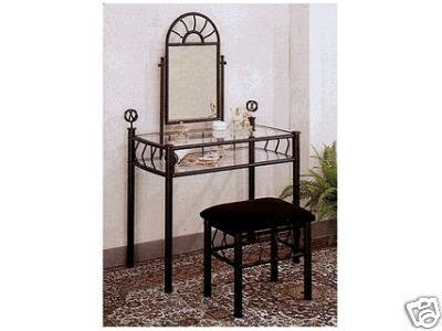 Black Metal Bedroom Vanity  Glass Table & Bench 
