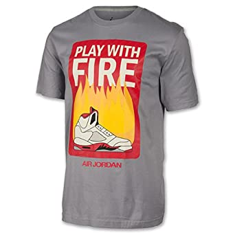 Nike Mens Air Jordan Play With Fire Tee Shirt Cement Grey Fire Red 606292-025 by Jordan