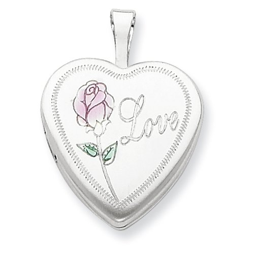 Sterling Silver 16mm Enameled & D/C Love Heart Locket Real Goldia Designer Perfect Jewelry Gift for Christmas