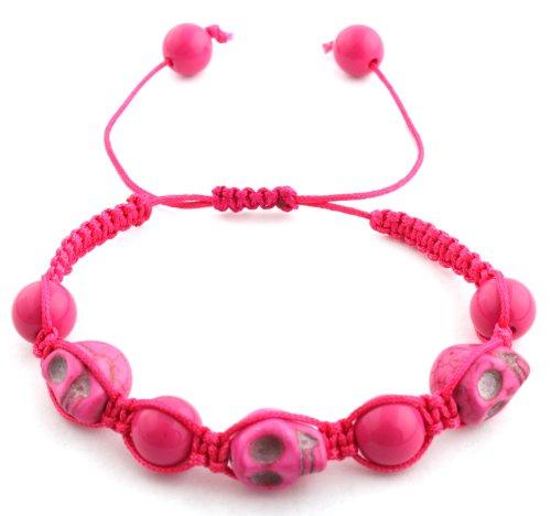 Pink Skulls and Beaded Balls Adjustable Bracelet Macrame Shamballah
