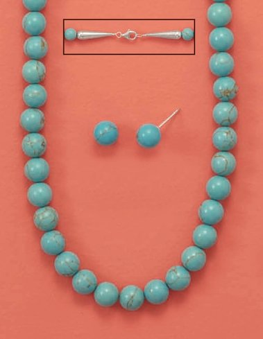 Reconstituted Turquoise 8mm Bead Necklace ONLY, 18-1/2 inch long, Sterling Silver Clasp