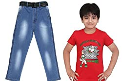 Krystle Combo of Boys 1 Light Red T-Shirt & 1-Jeans for Kids (10-11yrs)