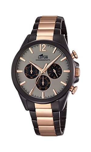 Lotus Men's Quartz Watch with Grey Dial Chronograph Display and Two Tone Stainless Steel Plated Bracelet 18196/1