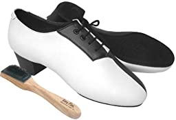 Very Fine Men\'s Salsa Ballroom Tango Latin Dance Shoes Style S420 Bundle with Dance Shoe Wire Brush, Black and White Leather 9.5 M US Heel 1.5 Inch