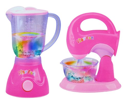 Pink-Blender-and-Mixer-Kitchen-Appliances-Toy-Set-for-kids-with-Light-Up-Swirling-Colors