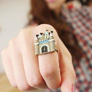 JE253 Retro Ring, Bunte Schloss Ring, Kleines Haus Ring, Einstellbar Größe Ring