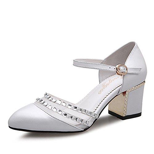 Moda sandali/ Grezzo Sandali estate moda donna/Superficiale baotou tacco alto in pelle fibbia sandali/Scarpe moda-A Lunghezza piede=24.3CM(9.6Inch)