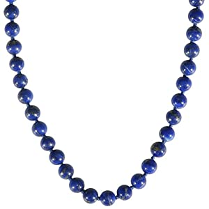 14k Yellow Gold 8mm Lapis Lazuli Bead Necklace, 17