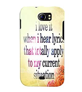 Fuson Meaningful Text Back Case Cover for MICROMAX CANVAS 2 PLUS A110 A110Q - D3870