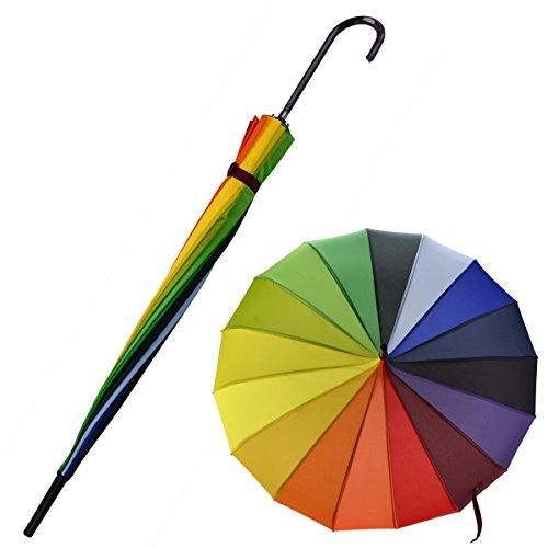 OUTGEEK Rainbow Umbrella Pagoda Long Handle Vintage Windproof Umbrella Parasol 1