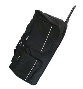 Large Wheeled Holdall Suitcase Luggage Wheels Bag Black Diamond