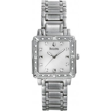 Bulova 96R107 Ladies Diamonds Silver White Watch