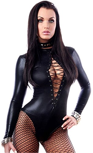 Blorse Black Wet Look Long Sleeve Bodysuit