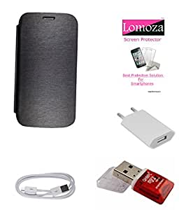 Lomoza Black Flip Cover for Lenovo K3 Note, Tempered Glass, Charger, Data Cable, Card Reader