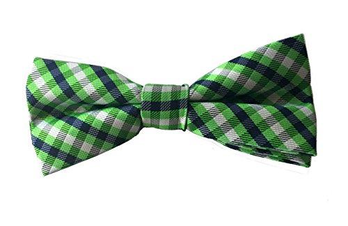 Boys IZOD Blue Green Checked Plaid Pre-Tied Bow Tie