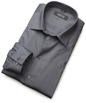 Kenneth Cole Reaction Men's Spread Collar Tonal Solid Woven Shirt,Slate,14.5 32/33