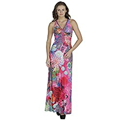 SVT Ada Collections Lycra Pink printed designer evening Gown(00203M_Pink_Medium)