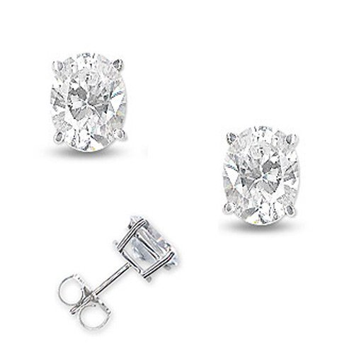 925 Sterling Silver Stud Earrings 4Ct Bezel Set Oval Shaped CZ Diamonds Basket Setting - Incl. ClassicDiamondHouse Free Gift Box & Cleaning Cloth