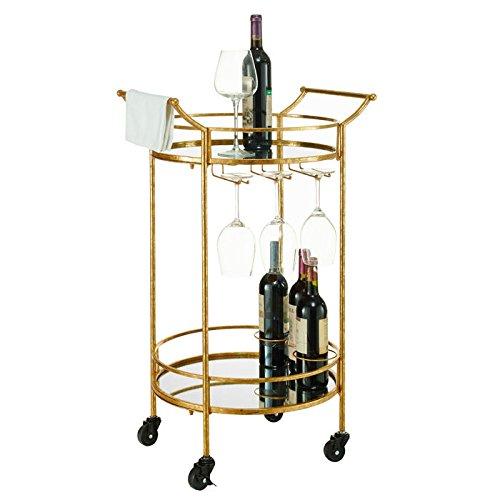 Linon Round Gold Metal Bar Cart 0