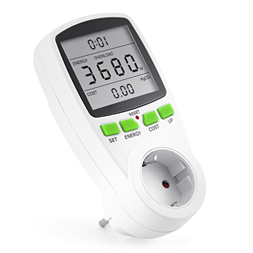 Arendo - Misuratore dei costi energetici | Contatore del consumo di corrente | Indicazione di Tempo/Energia/Costo | Set/Up/Costo, Elementi di comando dell'energia | 3680W | Sicura per bambini | bianco