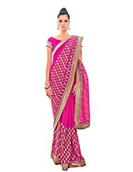 Anvi Creations Pink Embroidered Chiffon Saree (Pink_Free Size) - B00TO7HT1S
