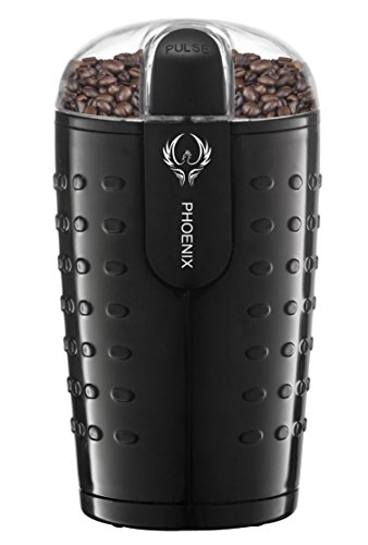 Phoenix Coffee Grinder with Brush , Oval Design with Stainless Steel Blade - B250 - 2.5oz (70 gm) capacity - Black