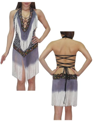 Womens Sexy One Piece Backless Belly Dance Beaded Dress with Fringe