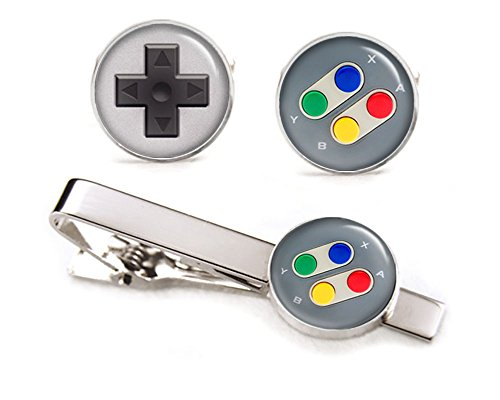 SNES Nintendo Cufflinks, Super Nintendo Controller Tie Clip, Gaming Jewelry, NES Cuff Links, Legend of Zelda Mario Brothers Retro Gifts
