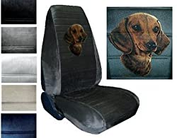 See Seat Cover Connection Dachshund print 2 High Back Bucket Car Truck SUV Seat Covers - Silver Grey Details