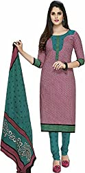 SDM Women's Cotton Printed Dress Material Unstitched (911, Maroon, Free Size)