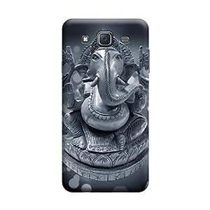 Desicase Samsung J7 Ganesha 3D Matte Finishing Printed Designer Hard Back Case Cover (Grey)