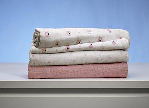 GUND Babygund Spunky Swaddle Blankets, Pop Pink, 40'' By 40''